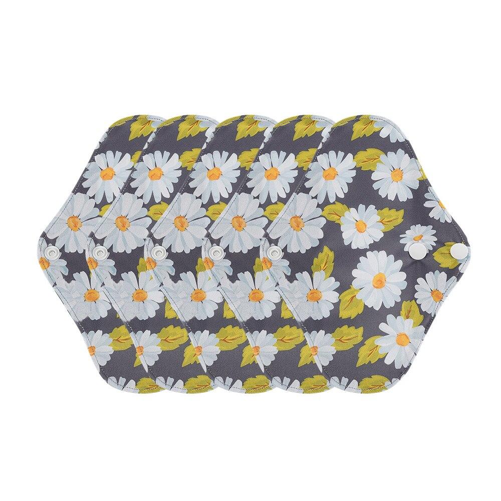 Happyflute 5PCS/Set 230mm Washable Sanitary Liner Soft Bamboo Charcoal Fabric Reusable Mum's Menstrual Pads