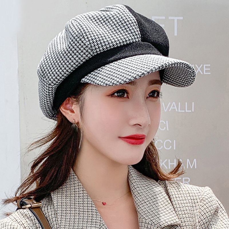 HT2589 Beret Cap Wool Hat Casual Octagonal Cap Autumn Winter Women Beret Hat Warm Plaid Patchwork Newsboy Cap Lady Berets Women
