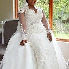 Custom Made 2020 New Wedding Dresses Mermaid Long Sleeve Detachable Skirt Lace Beading Crystal Sexy Luxury Wedding Gowns TH09