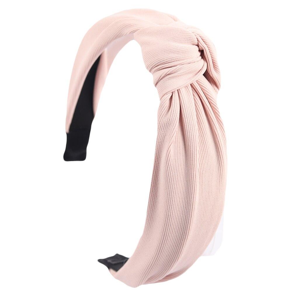 Couleur unie noeud bandeaux pour femmes Simple tissu filles bandeau femmes cheveux accessoires large côté bandeau 14