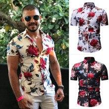 Мужская Повседневная летняя Гавайская футболка с коротким рукавом и принтом на кнопках, топ, блузка, Mannen, рубашки с пуговицами Gedrukt, футболка, топ Korte Mouw