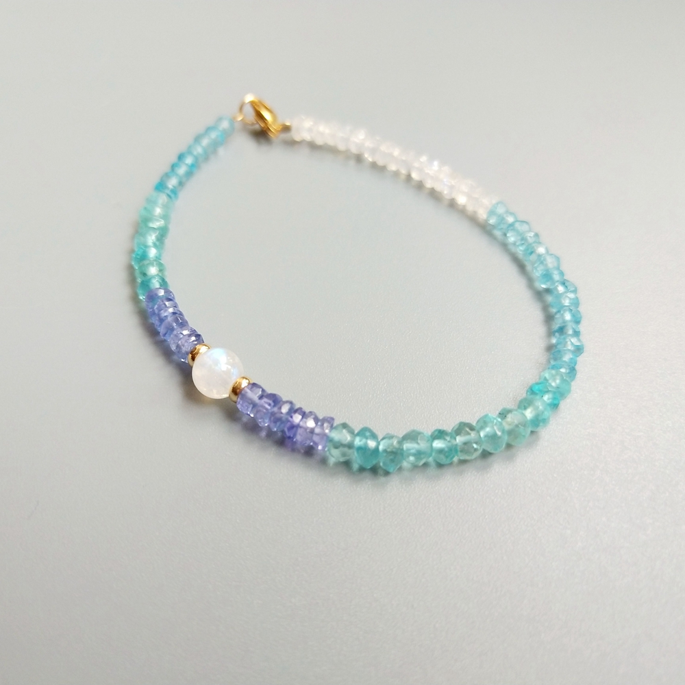 Lii Ji Genuine Natural Apatite <font><b>Tanzanite</b></font> Moonstone <font><b>Bracelet</b></font> American 14K GF Delicate <font><b>Bracelet</b></font> For Women Fashion Jewelry image