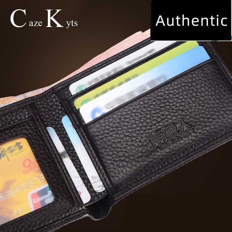 Wizytownik męski portfel na pieniądze Retro krótka torebka ze skóry naturalnej moda wielofunkcyjny pakiet o dużej pojemności