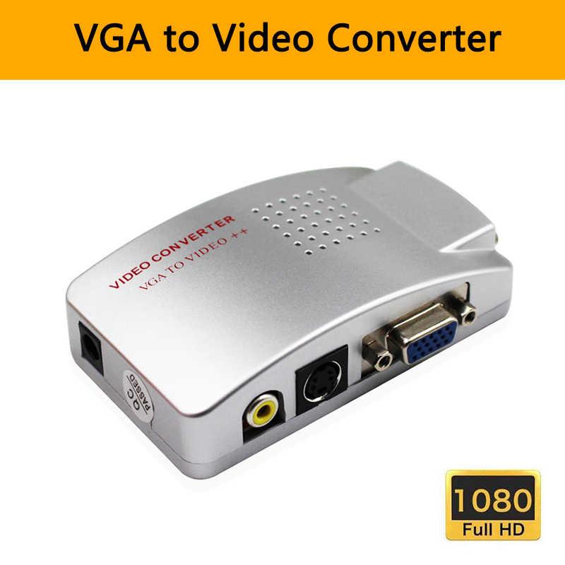 VGA TO AV RCA Komposit Video Konverter Adaptor NTSC Sobat Switch Box Konversi VGA Ke Video Komputer Laptop PC