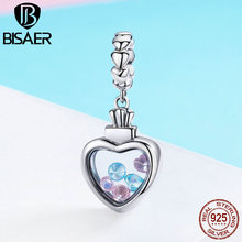 BISAER Real 925 Sterling Silver Memory Box Heart Pendant Charm Beads fit Bracelet & Necklace DIY Jewelry GXC588