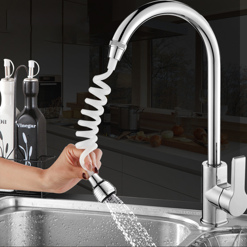 Kitchen Faucet Extension Extender 360 Rotatable Long Hose Portable Pullable Foaming Bathroom Shower Faucet Spring Tube White 1PC