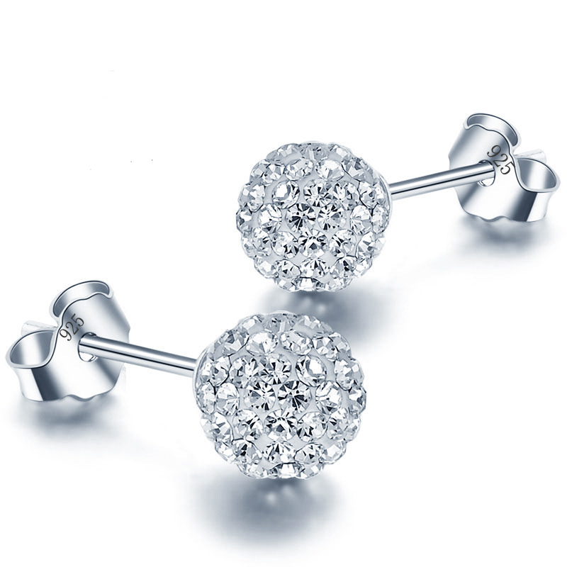 6/8/10mm White S925 Stamp Plata Earrings Micro Disco Balls Crystal Stud Earring Safe to skin Women Jewelry Wholesale