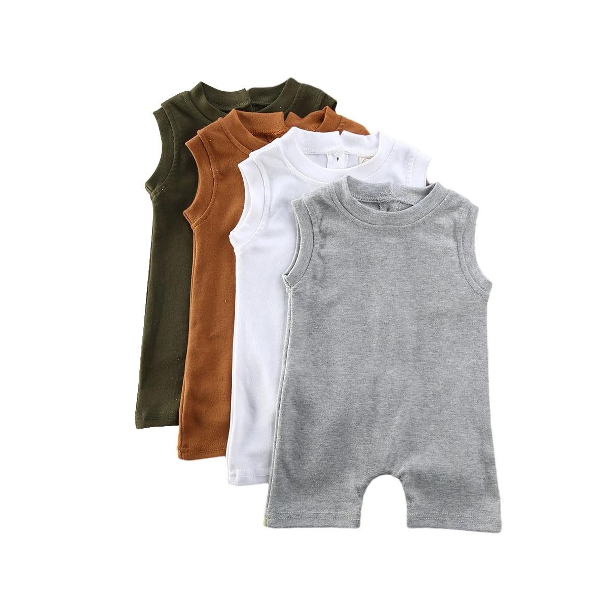 NEW Summer Newborn Toddler Boy Girl Solid Jumpsuit Cotton Romper Bodysuit Outfit