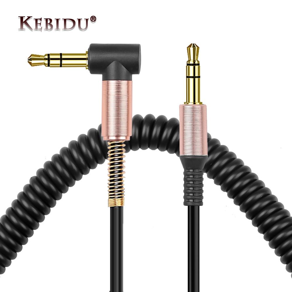 Аудиокабель Kebidu 3,5 мм, аудиокабель с разъемом 3,5 к разъему AUX, наушники, динамик для iPhone, Автомобильный штекер-штекер, шнур AUX, пружинный кабель