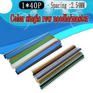 12PCS 2.54mm Preto +Branco + Vermelho + Amarelo+black+ azul Unica Linha Masculina 1X40 1*40 Pin Header Tira ROHS CGKCH090 Female