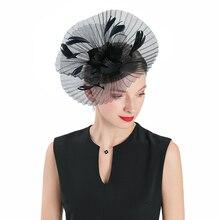 Fedora Hat Black Fascinator For Women Elegant Church Polyester Headpiece Wedding Fashion Lady Party Jockey Club Hair Accessories