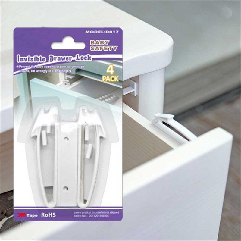 4pcs Invisible Drawer Latch Lock Baby Safey Cabinet Locks Baby Security Children Protection Latches Safety Cupboard Door Locker