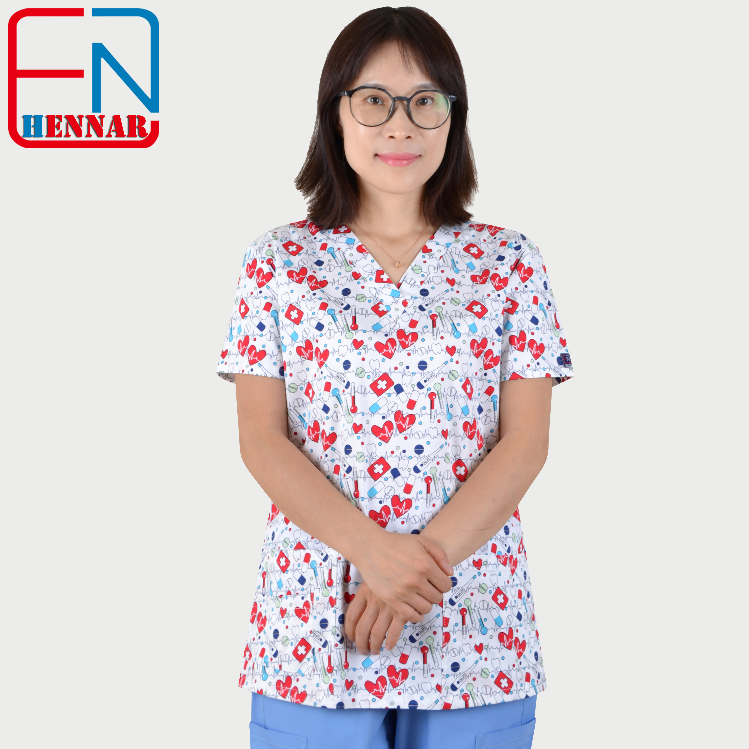 Medical Scrub Tops With Stretchy Material XXS-3XL