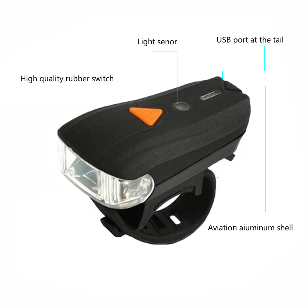 2019 New Electric Front Light Bike Headlight with Tail Lamp USB Charging Waterproof Smart Induction Flashlight For Bicycle Bike in Bicycle Light from Sports Entertainment