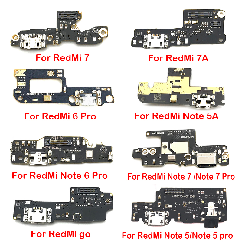 Dock Connector Charger Board For Xiaomi Redmi Note 8 7 6 5 5A Pro / Redmi Go 7 7A S2 USB Charger Charging Port Flex Cable Board
