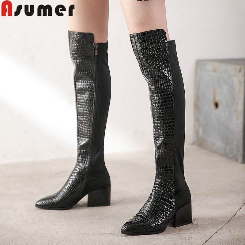ASUMER Over-The-Knee Boots Pointed-Toe High-Heels Autumn Winter Genuine-Leather Fashion