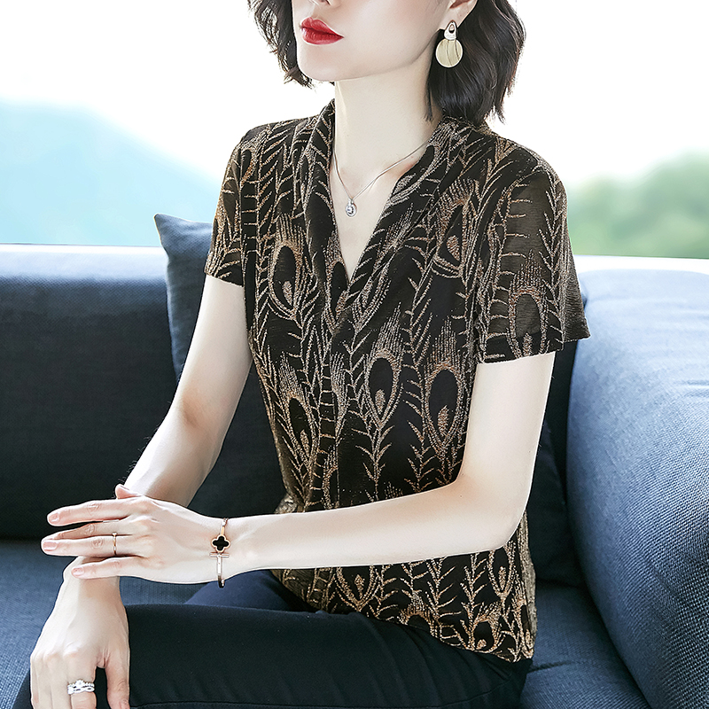 Short Sleeve Blouse Women Embroidery Lurex V-Neck Blusas Womens Tops And Blouses 3445