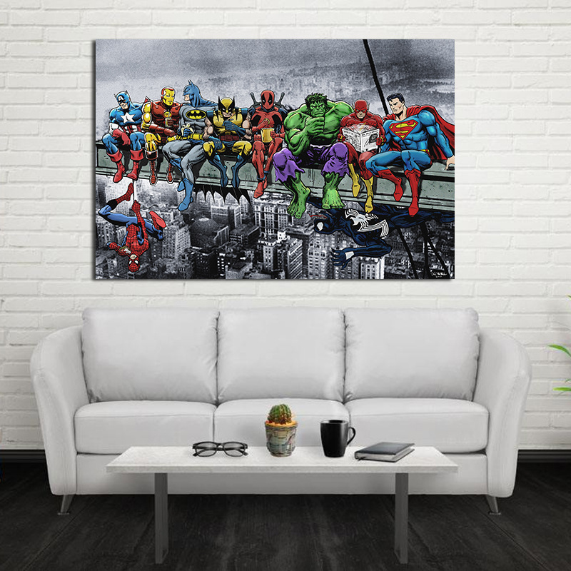 Decoration Painting Marvel Spiderman Wall-Art Canvas Avengers Heroes Quadro Thor The