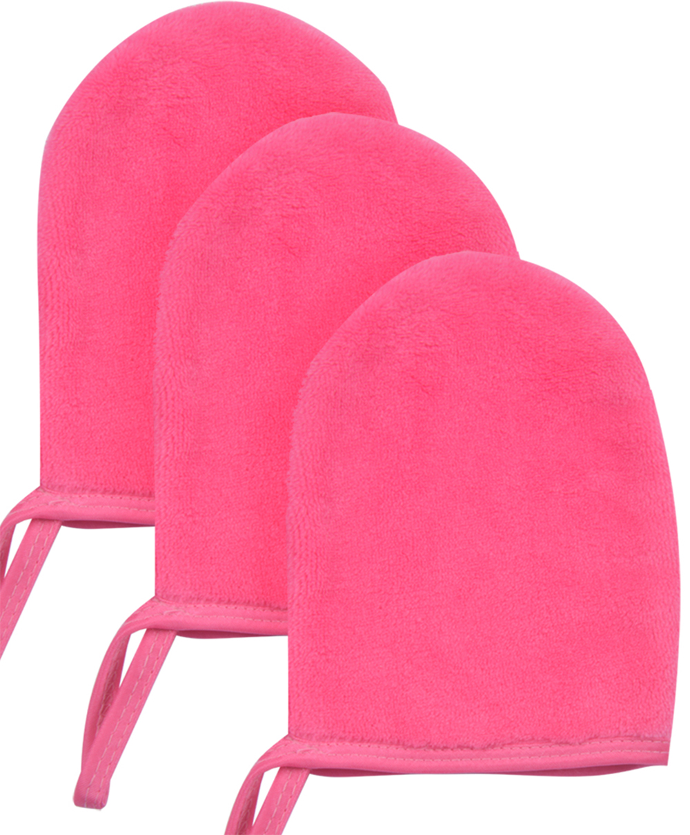 Sinland Microfiber Makeup Remover Gloves Face Cleansing Towel Cloths Spa Mitts Soft Washing Tool Pack of 3 6Inx5In Dark pink