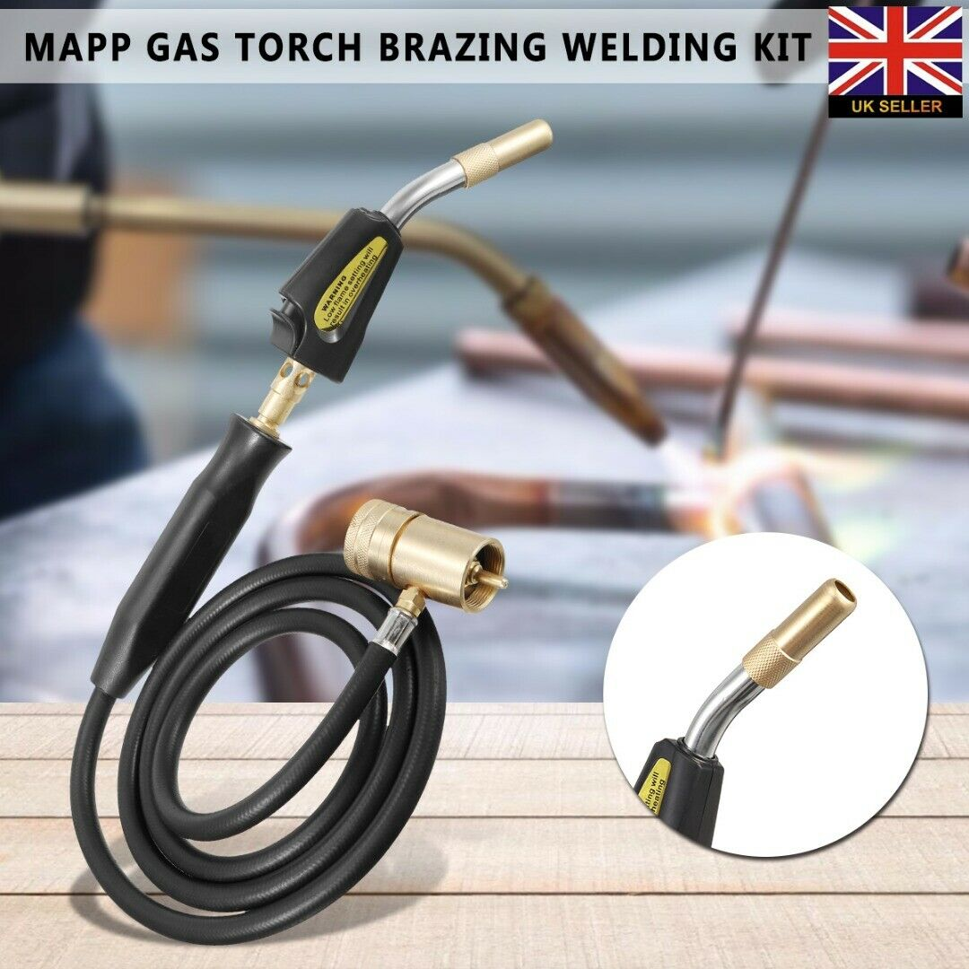 Welding Quenching 1 HVAC Torch Piezo Heating Turbo Flame 5m Lumbing Tool Gas Torch Hose Brazing Ignition Welding Burner Mapp BBQ