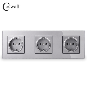 Image 4 - COSWALL Wall Crystal Glass Panel 3 Gang Power Socket Plug Grounded 16A EU Standard Electrical Triple Outlet White Black Grey