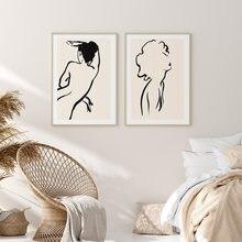 Абстрактная Женская линия для рисования скандинавский постер
