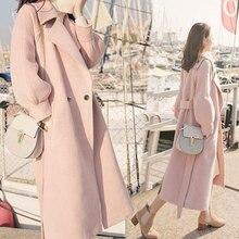 Осень-зима, шерстяное пальто для женщин, рукав-фонарик, шерсть& смесь, длинное шерстяное пальто, повседневное свободное шерстяное пальто, женская верхняя одежда