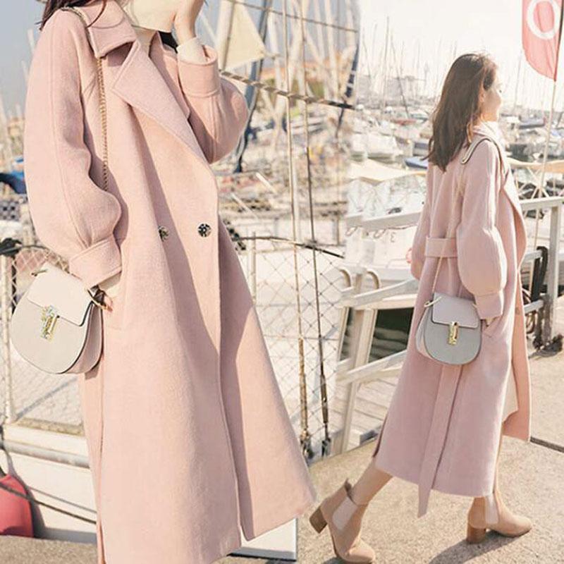 2019 Autumn Winter Woolen coats Women Lantern Sleeve Wool&blends Long Woolen Coat Casual Loose Wool Jacket Female Outwear 8