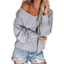 Women Long Lantern Sleeves Pullover Tops Waffle Knit V-Neck Sexy Off Shoulder Shirts Loose Fit Solid Color Casual Sweater Blouse black plung v neck lantern long sleeves plain blouse