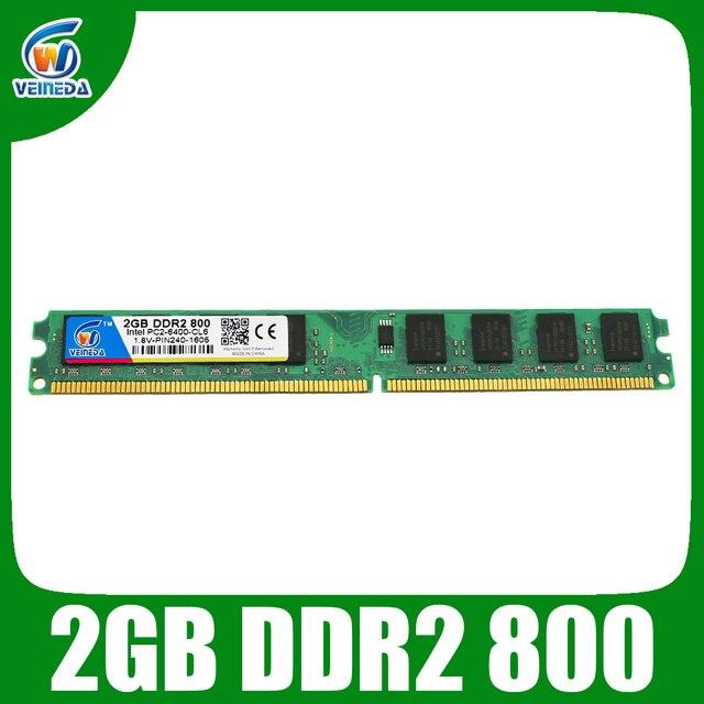 VEINEDA оперативная память ddr2 2 ГБ 800 МГц ram PC2 6400 для Intel и AMD Материнская плата совместима с 667, 533