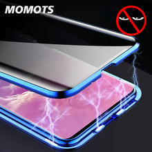 Anti Peep Magnetic Case for Samsung S8 S9 S10 Plus Tempered Glass Case for Samsung Note 8 9 Couque 360 Full Protection Cover