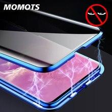 Anti Peep manyetik kılıf Samsung S8 S9 S10 artı temperli cam kılıf Samsung not 8 9 Couque 360 tam koruma kapağı