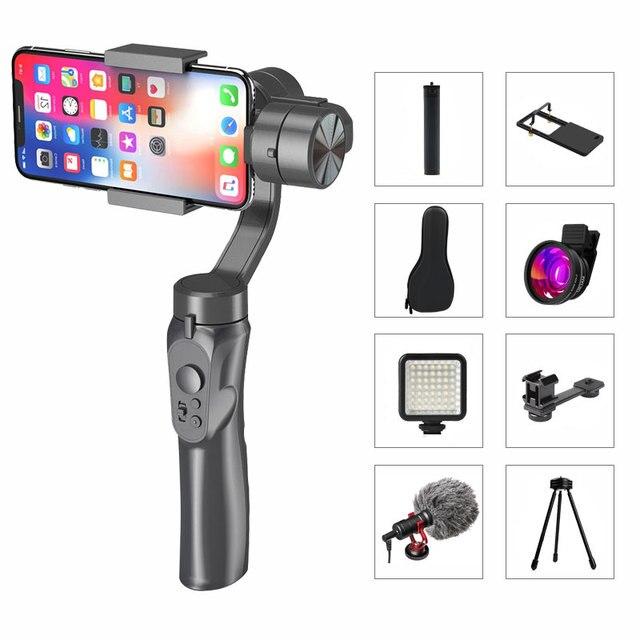 3軸ハンドヘルドジンバルスマートフォンスタビライザーusb充電ビデオ録画のサポートユニバーサル調節可能な方向vlogライブ