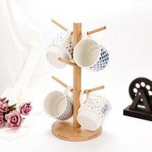 Деревянный кухонный стеллаж для хранения, стеллаж для кружек, дерево, съемная бамбуковая подставка для кружек, подставка для хранения кофе, чая, органайзер, вешалка, держатель с 6 крючками