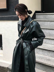 WSYORE Jacket Windbreaker Trench-Coat Autumn Long Women Cool New Slim Spring PU Ns939a