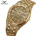 Лидирующий бренд ONOLA Мужские Аналоговые кварцевые часы мужские модные роскошные золотые часы из нержавеющей стали водонепроницаемые наруч...