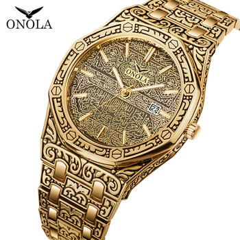 Top Brand ONOLA Men Analog Quartz Watch Mens Fashion Luxury Gold Watches Stainless Steel Waterproof Wristwatch Relogio Masculino