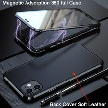 Manyetik 360 tam koruyucu deri iphone için kılıf 11 kılıf Coque Funda iphone 11 pro max arka kapak yumuşak deri