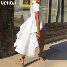 VONDA Tunic Women Blouse 2019 Casual Loose Ruffle Asymmetry Tops Irregular Hem Shirts Female Party Top Plus Size Summer Blusas plus embroidery ruffle hem semi sheer blouse