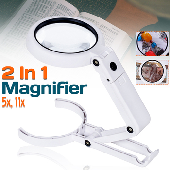 5X 11X lampa składana Lupa Lupa Lupa czytanie przenośne podręczne podświetlane szkło powiększające z 8 diodami LED do gazety tanie i dobre opinie ZEAST Handheld Magnifier Led light Z tworzywa sztucznego