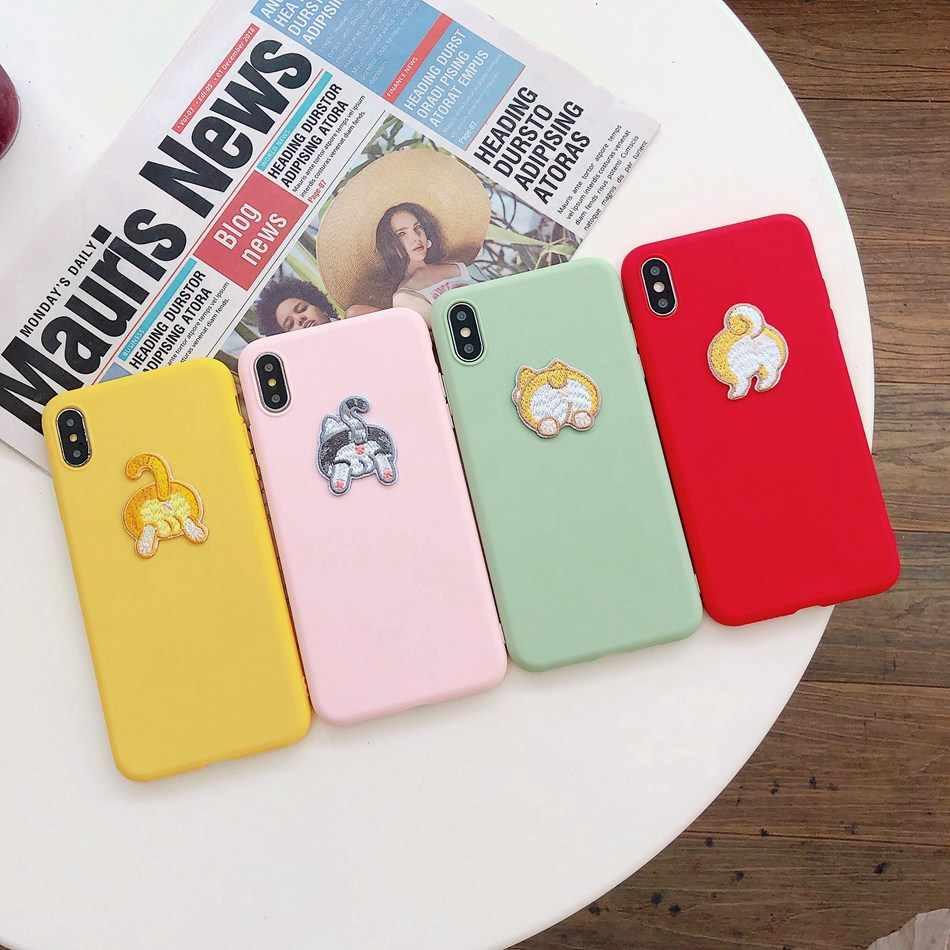 3D oso lindo dinosaurio DIY para iPhone 11 Pro XR X XS X Max perro gato cordón funda para el iPhone 7 6s 6 5 8 Plus Kawaii suave