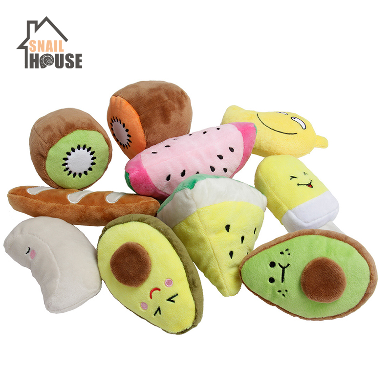 Snailhouse Sounding Puppy Dog Chew Toys Fruit Squeak Toy For Cat Pets Plush Chew Puppy Training Toy Squeaky Toy For Pet Supplies