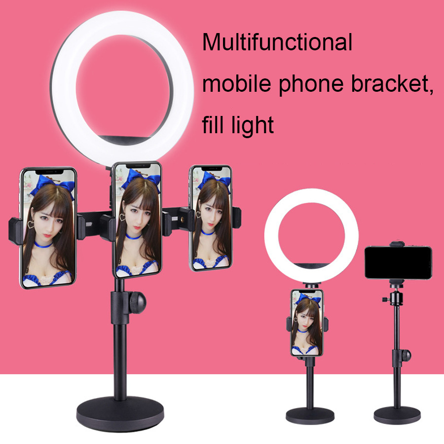 6 2 Inch LED Photography Selfie Ring Light Dimmable Camera Phone Ring Lamp   Table desktop holder For Makeup Video Live Studio