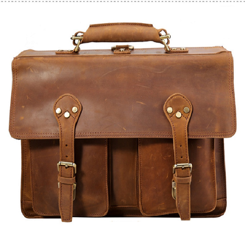 Mens Briefcases Real Leather Business Casual Vintage Tote Hand  16