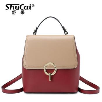 SHUCAI fashion women backpack high quality leather crossbody shoulder bag female crocodile travel bag large multifunctional bag
