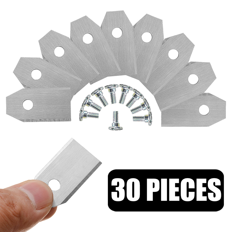 30pcs Silver Stainless Steel Replacement Blades for Husqvarna Automower Gardena Robotic Lawnmower Garden Tools 35*18*0.45mm