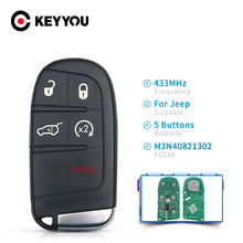 KEYYOU 5 Buttons Remote Car Key Fob For DODGE/Chrysler/JEEP Grand Cherokee M3N-40821302 M3N40821302 433MHz ID46 PCF7953 Chip