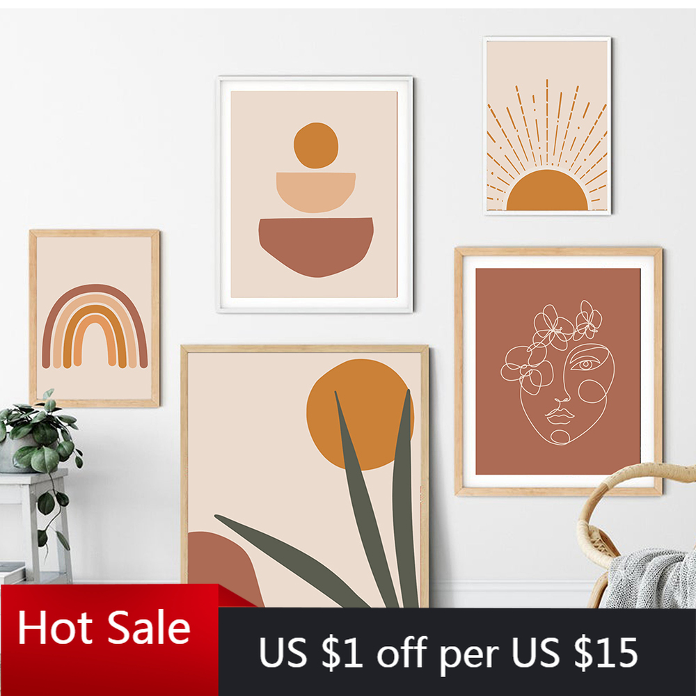 Burnt Orange Rust Wall Decor Large Size Instant Download Rainbow Wall Art Printable Terracotta Rainbow Art