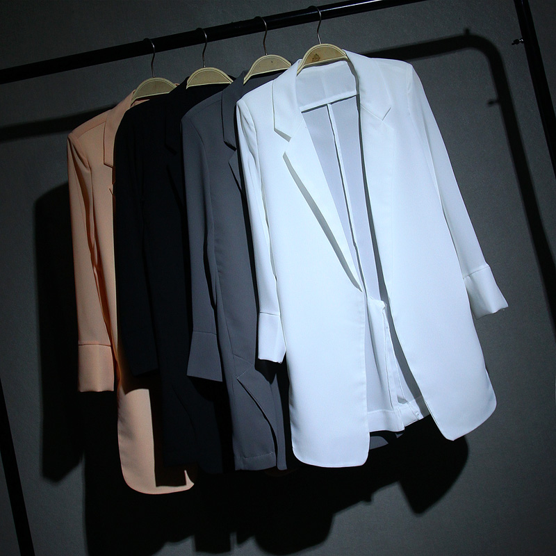 2020 Spring Summer Mid-long All-matched New Chiffon Blazers Suit Women Coat Thin Loose White Suit Office Lady Wear