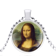 The Silver Color Charm Mona Lisa Smile Glass Dome Metal Classic Necklace Retro Men and Women Jewelry Gift